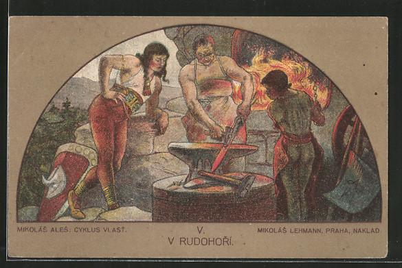 Künstler-AK V Rudohori, Schmied schmiedet ein Schwert
