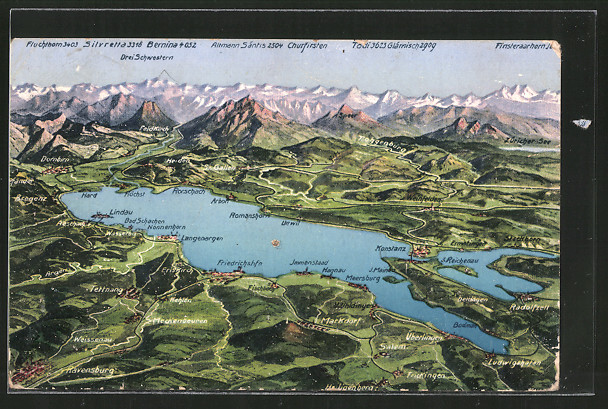 AK Konstanz, Bodensee-Landkarte mit umliegenden Ortschaften