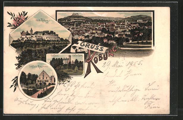 Lithographie Coburg, Veste Koburg, Panoramaansicht, Schloss Callenberg, Schloss Rosenau