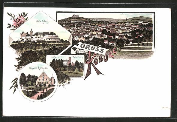 Lithographie Coburg, Veste Koburg, Schloss Rosenau, Schloss Callenberg, Panoramablick