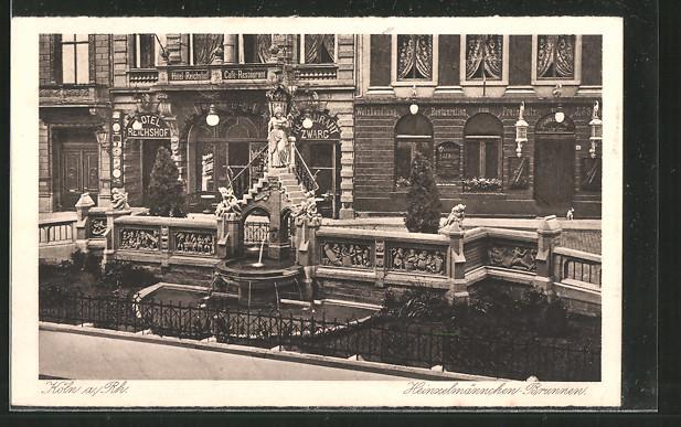 AK Köln, Heinzelmännchen-Brunnen am Restaurant zum Freischütz & Hotel Reichshof