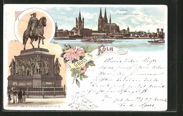 Lithographie Köln, Denkmal König Friedrich Wilhelm III. und Ortsausblick