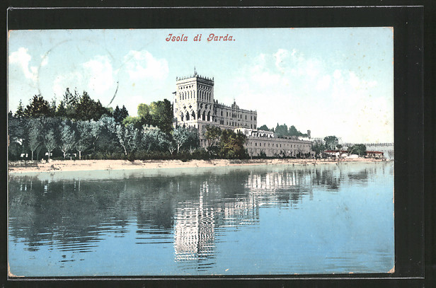 AK Isola di Garda, Schloss vom Wasser gesehen