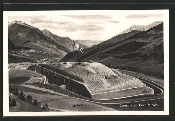 AK Airolo, Blick zum Fort Airolo