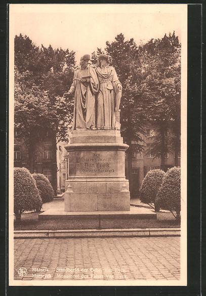AK Maaseik / Maeseyck, Standbeeld der Gebr. Van Eyck, monument des frères Van Eyck