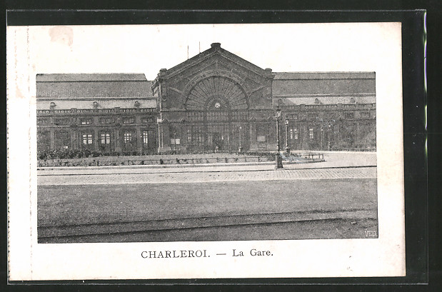 AK Charleroi, La gare, Blick zum Bahnhof