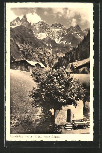 AK Einödsbach, Blick auf den Alpengasthof