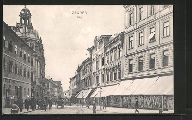 AK Zagreb, Ilica, Blick in eine Geschäftsstrasse