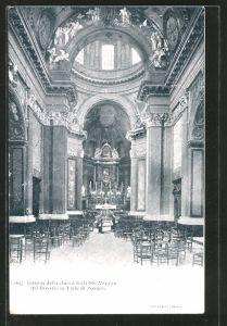 AK Valle di Pompei, Interno della chiesa della SS. Vergine del Rosario