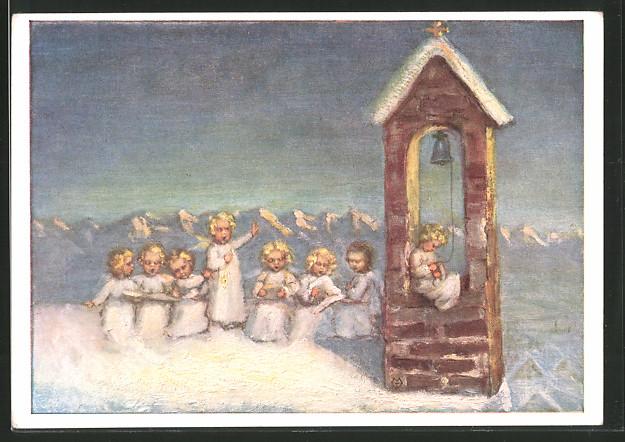 Künstler-AK Maria Spötl: Singende Englein auf Kirchdach