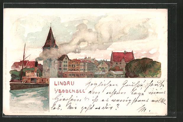Künstler-Lithographie Fritz Voellmy: Lindau im Bodensee, Teilansicht