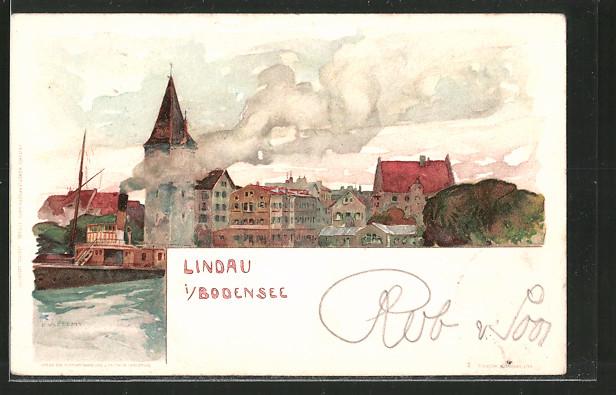 Künstler-Lithographie Fritz Voellmy: Lindau mit auslaufendem Dampfer