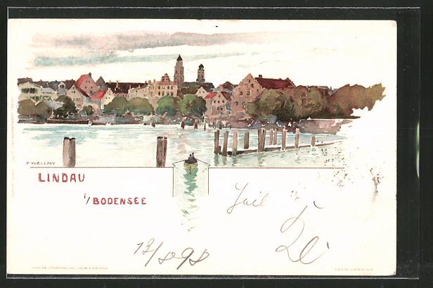 Künstler-Lithographie Fritz Voellmy: Lindau mit Ruderboot