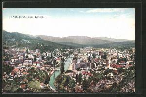 AK Sarajewo, Blick vom Kastell auf die Stadt