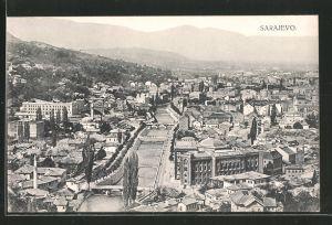 AK Sarajewo, Panoramablick über die Stadt