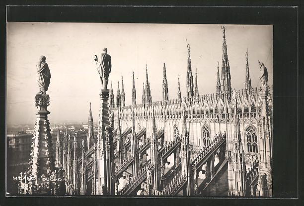AK Milano, Duomo, Statuen & Verzierungen auf dem Dach des Domes