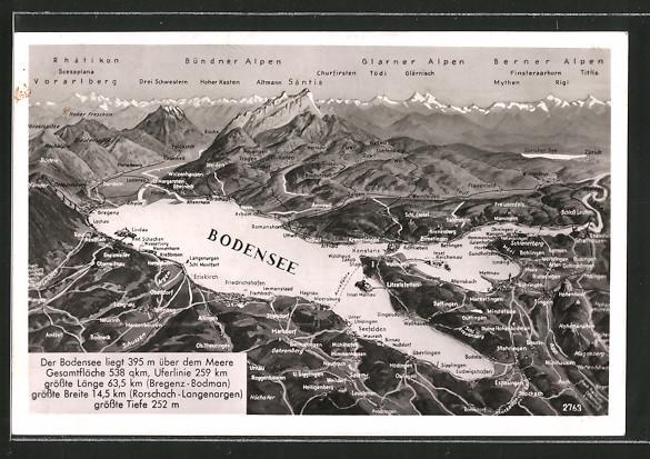 Ak bodensee landkarte mit umliegenden ortschaften for Bodensee karte