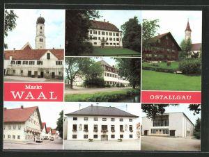 AK Waal, Strassenpartie mit Gebäudeansicht, Kirche