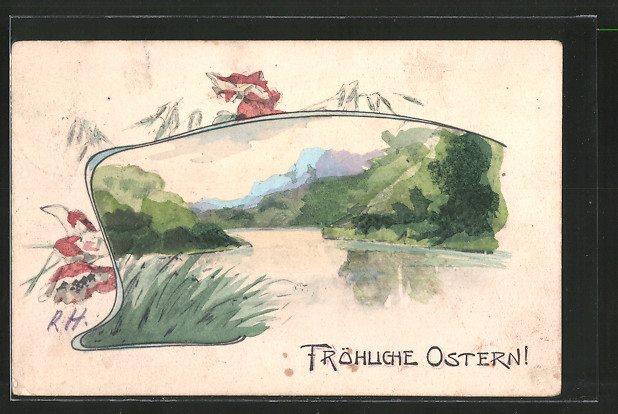 Künstler-AK Handgemalt: Fröhliche Ostern, Partie am See