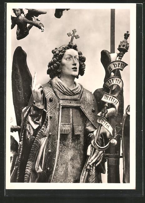 Foto-AK Deutscher Kunstverlag, NR 6c: Nürnberg, St. Lorenz, Erzengel Gabriel aus dem