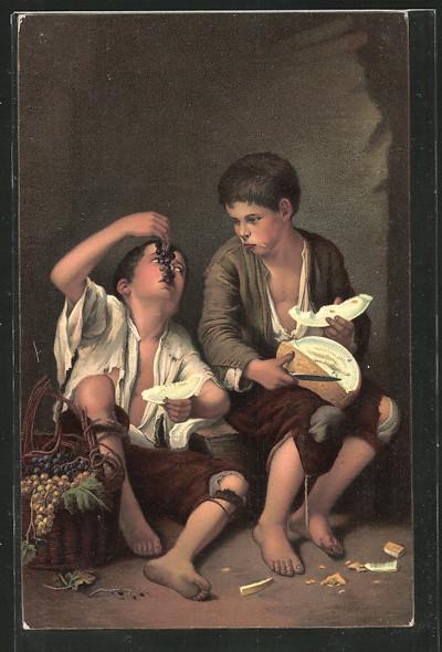 Künstler-AK Stengel & Co. Nr. 29979: Die Melonenesser von Murillo