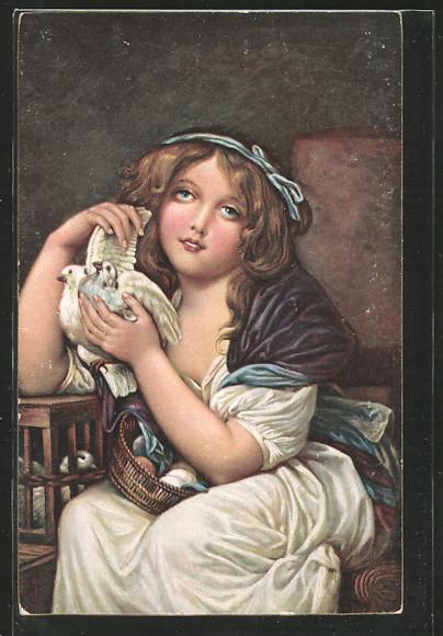 Künstler-AK Stengel & Co. Nr. 29939: Ein Mädchen mit Tauben von Greuze