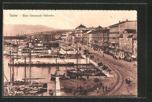 AK Fiume, Riva Emanuele Filiberto, Blick auf den Hafen