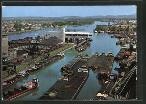 AK Basel, Blick auf den Kleinhüninger Rheinhafen aus der Vogelschau