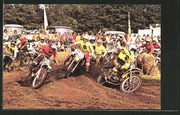 AK Motorräder beim Motocross, Joel Robert, Gaston Rahier & Gennady Moissev