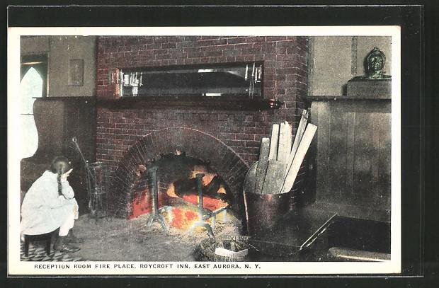 AK East Aurora, NY, Hotel Roycroft Inn, Reception Room Fire Place, Kamin