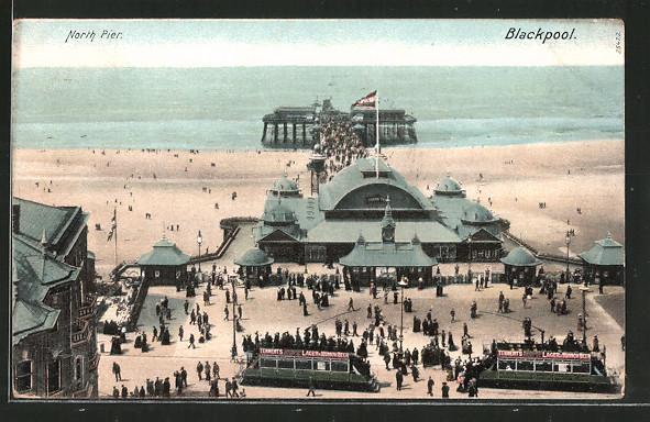 AK Blackpool, Strassenbahn am North Pier