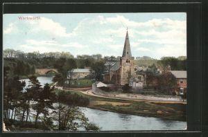 AK Warkworth, Ortspartie an der Kirche