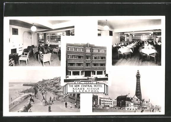 AK Blackpool, The new Central Hotel, Reads Avenue, Innenansichten und Leuchtturm