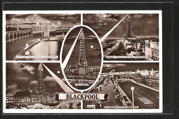 AK Blackpool, General View of Central Promenade, Pleasure Beach, Illuminated, Leuchtturm
