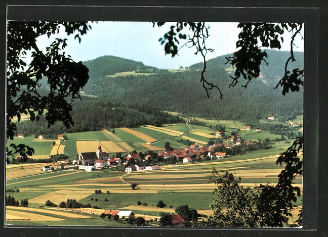 AK Germannsdorf, Waldpartie mit Blick auf die Kirche