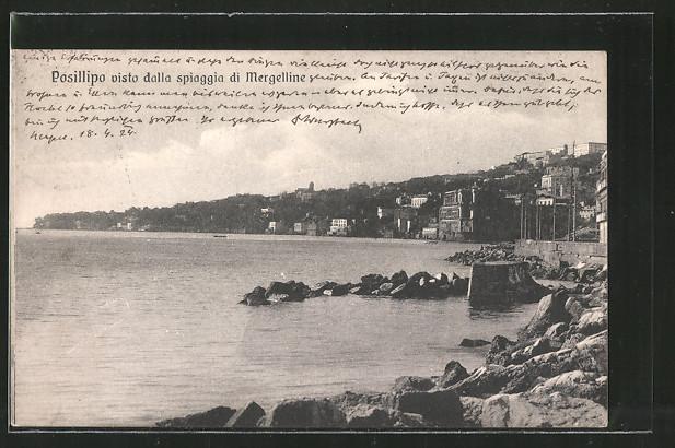 AK Posillipo, visto dalla spiaggia di Mergelline