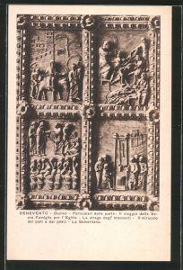 AK Benevento, Duomo, Particolari delle porte, Il vaggio della Sacra famiglia