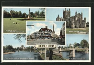 AK Hereford, the Suspension Bridge, Castle Green and Nelson Monument