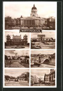 AK Nottingham, The City Centre and Council House, Wollaton Hall, Trent Bridge
