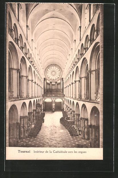 AK Tournai, intérieur de la Cathédrale vers les orgues