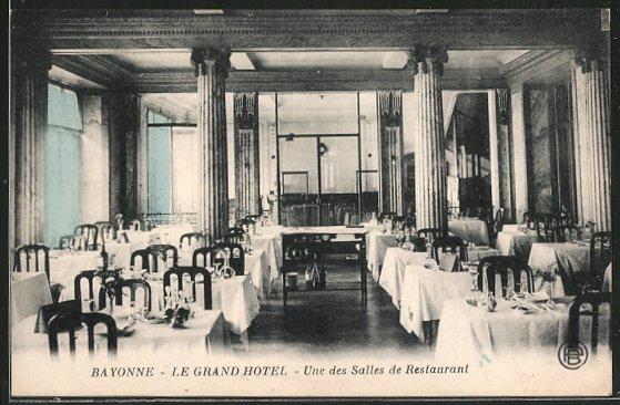 ak bayonne le grand h tel une des salles de restaurant nr 6469532 oldthing ansichtskarten. Black Bedroom Furniture Sets. Home Design Ideas