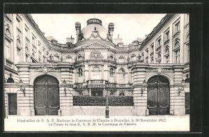 AK Brüssel / Bruxelles, Funérailles de la comtesse de Flandre 1912, le palais de feure la comtesse de Flandre