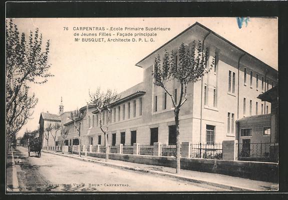 AK Carpentras, Ecole Primaire Supérieure de Jeunes Filles, Facade principale