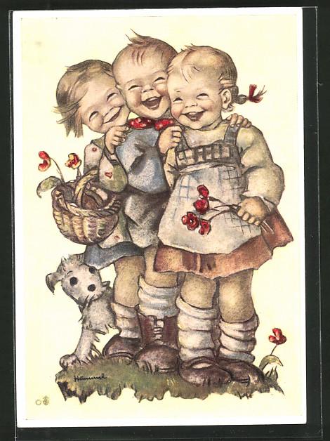 Künstler-AK Hummel: Lachende Kinder und ein Hund,