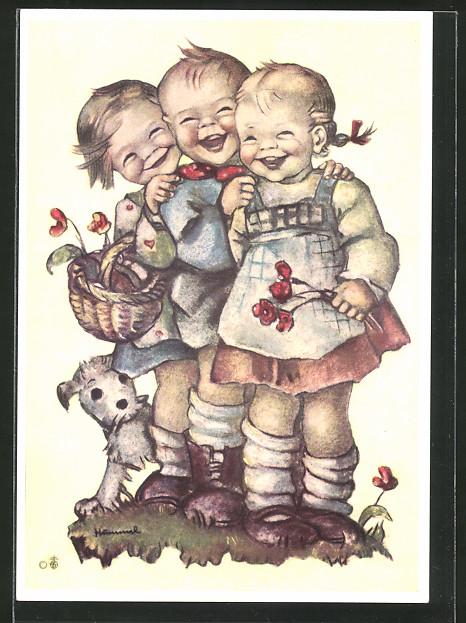 Künstler-AK Hummel: Lachende Kinder mit Blumen und Hund,