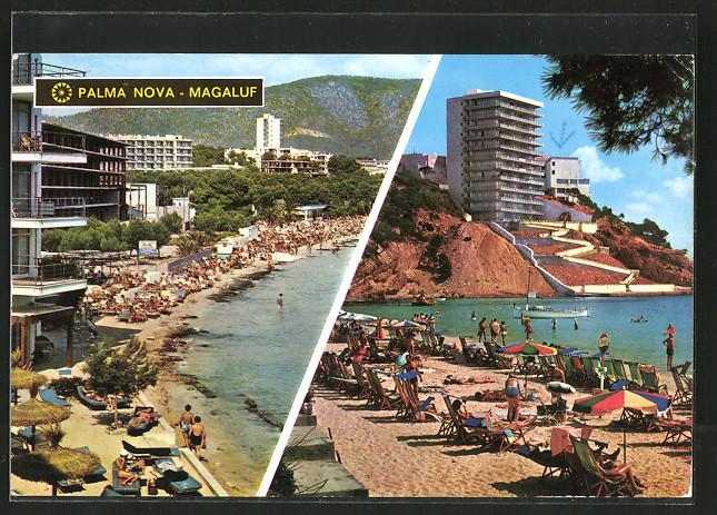 AK Palma Nova - Magaluf / Mallorca, Blick auf Strand und Hotels