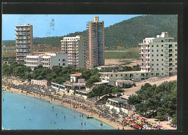 AK Magaluf / Mallorca, Teilansicht mit Hotels und Strand
