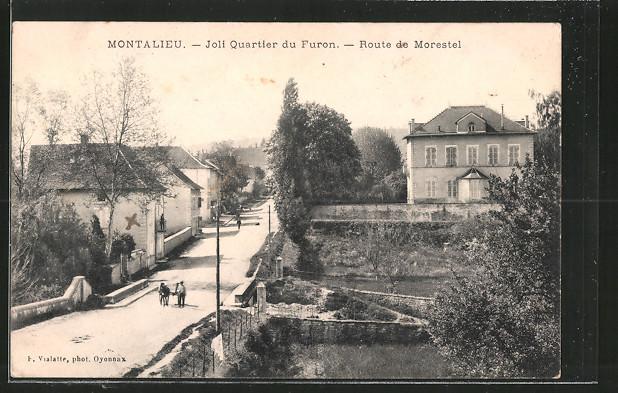 AK Montalieu, Joli quartier du Furon, route de Morestel, Pferdegespann