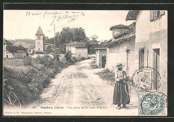 AK Septème, Vue prise de la route d'Oytier, Blick zur Kirche