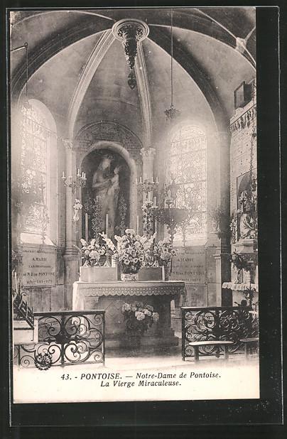 AK Pontoise, Notre-Dame de Pontoise, la vierge Miraculeuse